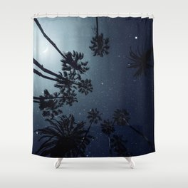 Palm Trees, Night Sky, Stars, Moon Shower Curtain