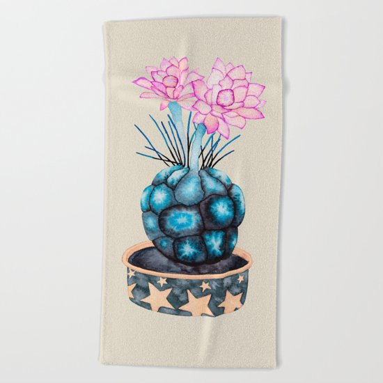 succulent flower Beach Towel