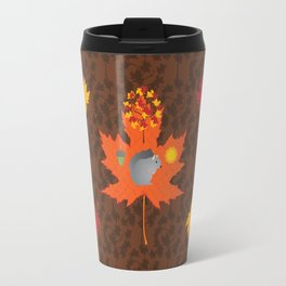 Grey Squirrel Autumn Pattern Travel Mug