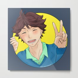 Oikawa Tooru - Haikyuu!! - circle peace sign Metal Print