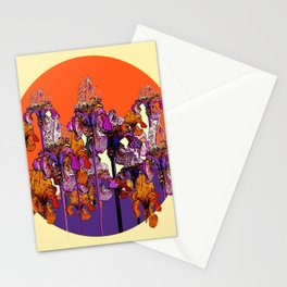 "modern art "" PURPLE & CREAM "" ORANGE IRIS GARDEN Stationery Cards"