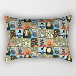 Studio Ghibli Collage - Calcifer, Jiji, Turnip, No Face, Markl, Kodama, Cat Bus & Soot Sprites Rectangular Pillow