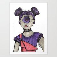 Grunge Cyclops Art Print