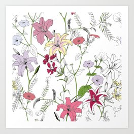 Flower pattern coloring Art Print