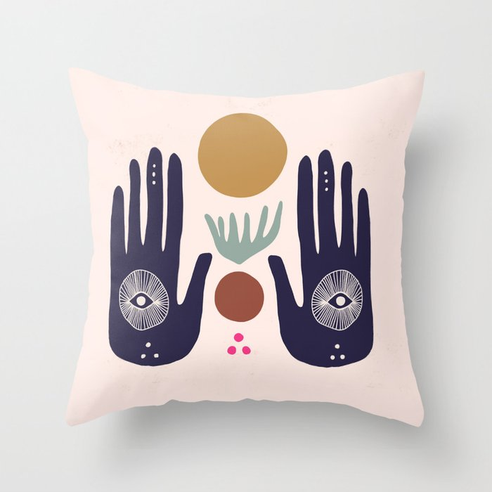 Hasma Hand Mural Throw Pillow
