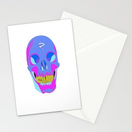 Neon Pixel Psychaedelic Halloween Skull  Stationery Cards