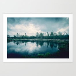 A mystical misty summer landscape with a wild river and dark clouds Art Print