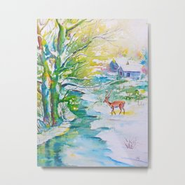 Winter landscape, snow stream and deer Metal Print