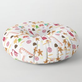 Christmas Sweeties Candies, Peppermints, Candy Canes and Chocolates Floor Pillow