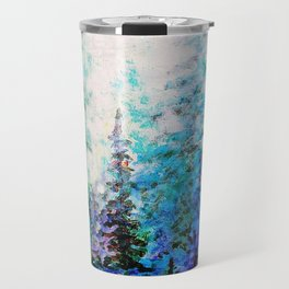 Mountain Landscape Pines In Blue-Greens-Purple Travel Mug
