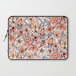 Pink Inky Floral - Watercolor Flowers - Ink Laptop Sleeve