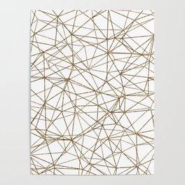 Geometric triangles glitter pattern. Modern stylish texture. Gold trendy glitter print background Poster