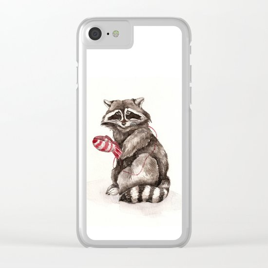 Pensive Raccoon in Red Mittens. Winter Season. Clear iPhone Case