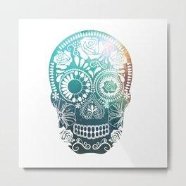 Mexican Skull / teal Metal Print