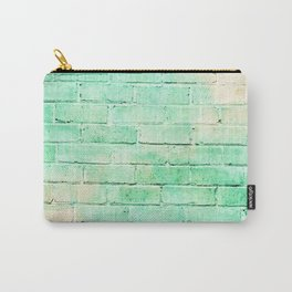 pastel yellow and mint green distressed painted brick wall ambient decor rustic brick effect Carry-All Pouch
