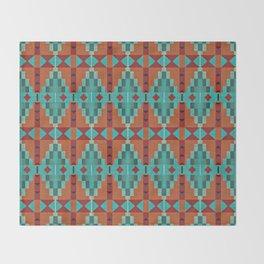 Orange Red Aqua Turquoise Teal Native Mosaic Pattern Throw Blanket