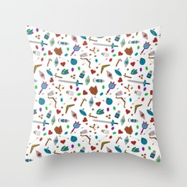 Zelda A Collection of Items Vector Pattern Throw Pillow