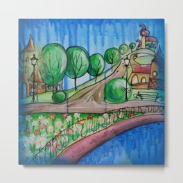 Landscape Painting Fairy town Acrylic S13 Contemporary Nursery Cityscape art for baby children kids Metal Print