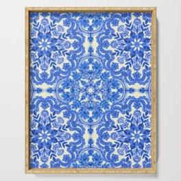 Cobalt Blue & China White Folk Art Pattern Serving Tray