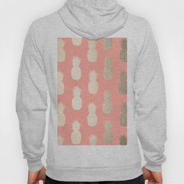 Gold Pineapples on Coral Pink Hoody