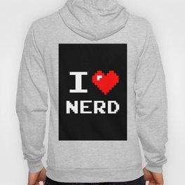 I Love Nerd, nerd t shirt, black version Hoody