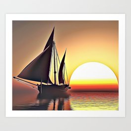Sunset Sailing Airbrush Artwork Art Print