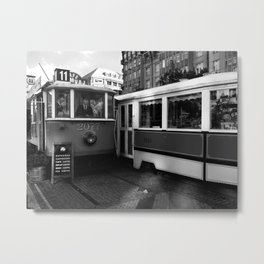 Cafe in the tram in the historical part of Prague. Metal Print