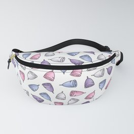 Menstrual cups, periods and PMS in white Fanny Pack