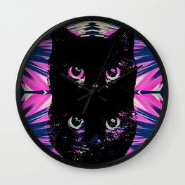 Black Cat Rising Wall Clock