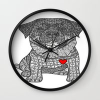 rottweiler Wall Clocks featuring Courageous Heart- Rottweiler by DiAnne Ferrer