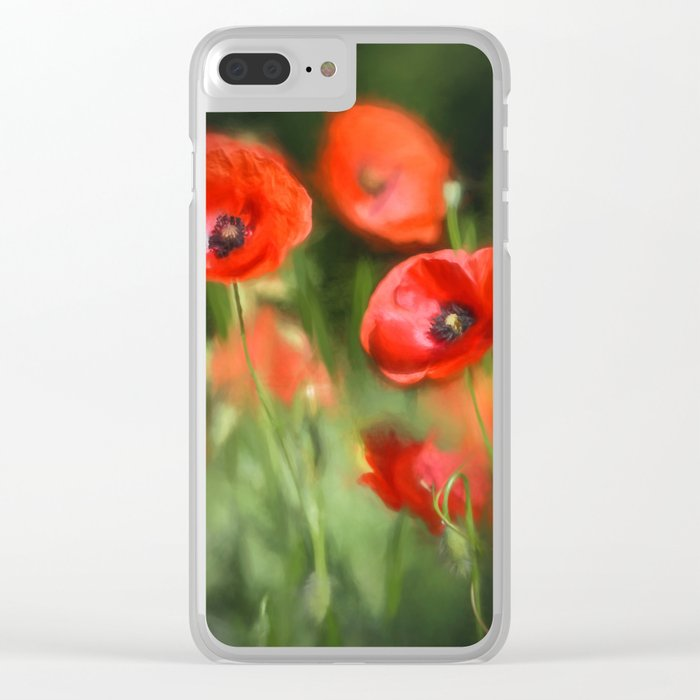 Warmth- Floral Flower Poppies in love- Poppy flowers #Society6 Clear iPhone Case