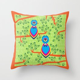 Tropical birds on trees Throw Pillow