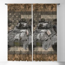 Light Armored Vehicle Digital Camo Pattern American Flag Blackout Curtain