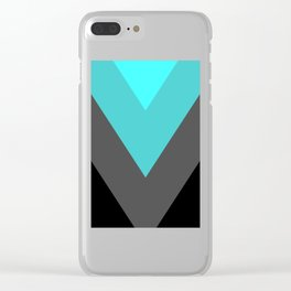 Aqua Gray Chevron Stripes Clear iPhone Case
