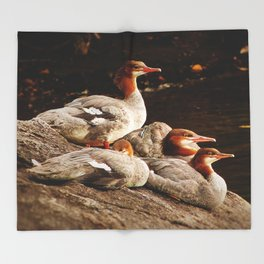 Common Merganser Family Throw Blanket