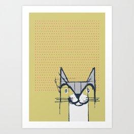 Cubist Cat Study #6 by Friztin Art Print