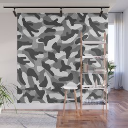 Grey Gray Camo Camouflage Wall Mural