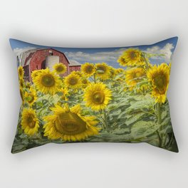 Golden Blooming Sunflowers with Red Barn Rectangular Pillow