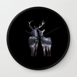 Forest deer family black pattern Wall Clock