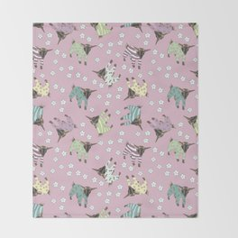Pajama'd Baby Goats - Pink Throw Blanket