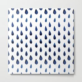 Blue Indigo Series - Drops of Water Pattern Metal Print