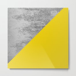 Simply Concrete Mod Yellow Metal Print