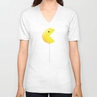 pac man V-neck T-shirts featuring Pac-Man by Tony Vazquez