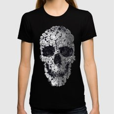 Doodle Skull Womens Fitted Tee MEDIUM Black
