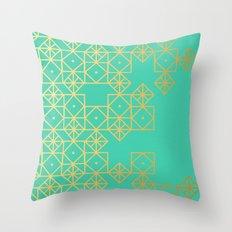 Geometric Turquoise Throw Pillow