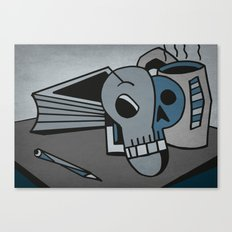 Skull, Book and Coffee Canvas Print