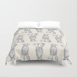 WEIMARANERS AND WHITE PUMPKINS Duvet Cover
