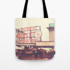 6:20. Seattle Pike Place Public Market photograph Tote Bag