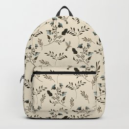 Ivory Cream and Bluebells and Bluebirds Floral Pattern Flowers in Blue and Bark Brown Backpack
