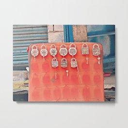 India Streets. Padlock Metal Print